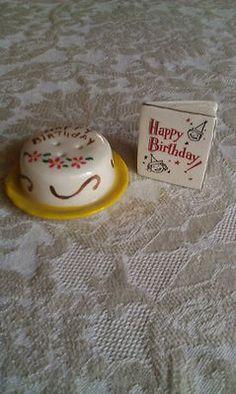 Arcadia MINIATURE Decorated BIRTHDAY Cake & Card Salt & Pepper Shakers
