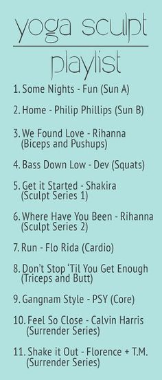 Yoga Sculpt Playlist. I'd use a few of these songs