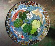 """MOSAIC TABLE - koi fish ART  - stained glass mosaic art - 30"""" round indoor or outdoor end side table top or patio mural door ParadiseMosaics op Etsy https://www.etsy.com/nl/listing/234765396/mosaic-table-koi-fish-art-stained-glass"""