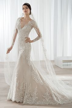 wedding dresses lace, Gorgeous Tulle V-neck Neckline Mermaid Wedding Dresses with Lace Appliques wedding dresses online shop, supplies stylish wedding dresses, custom vintage wedding gowns, designer bridal dresses & affordable luxury gowns Stunning Wedding Dresses, Bridal Wedding Dresses, Wedding Dress Styles, Dream Wedding Dresses, Wedding Gown Gallery, Dress Images, The Dress, Ball Gowns, Chapel Train