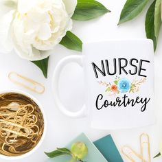 Floral Nurse Mug ($13) ❤ liked on Polyvore featuring home, kitchen & dining, drinkware, drink & barware, home & living, mugs, white, thermal travel coffee mugs, coffee mugs and travel coffee mugs