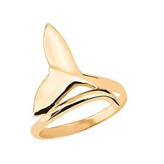 Dolphin Whale Tail Wrap Ring in Fine 10k Yellow Gold Size 11 >>> Want additional info? Click on the image.