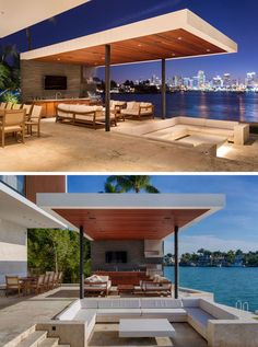Choeff Levy Fischman Design A New Home For The Miami Waterfront This modern outdoor space has a sunken outdoor living room that sits beneath the level of the pool, and is located between the pool and the outdoor summer kitchen and dining area. Outdoor Cabana, Pool Cabana, Outdoor Pergola, Outdoor Pool, Pergola Ideas, Pergola Kits, Outdoor Living Rooms, Outdoor Spaces, Modern Outdoor Kitchen