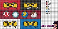 LEGO Ninjago pattern by Aldray Ferreira Cross Stitch Boards, Cross Stitch For Kids, Cross Stitch Art, Cross Stitching, Cross Stitch Patterns, Fuse Beads, Perler Beads, Knitting Charts, Knitting Patterns