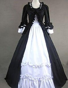 Top Verkauf Gothic Lolita Schwarz-Weiß-Partykleid Weinlese Victorian belle Kleid