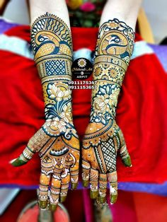 A full-hand mehndi design as this one is PERFECT for weddings. The extravagant motifs and intricate designs are symbolic of feminine beauty, purity, and wellness. For more design visit our website or fb page. Peacock Mehndi Designs, Indian Mehndi Designs, Latest Bridal Mehndi Designs, Full Hand Mehndi Designs, Mehndi Designs Book, Mehndi Designs 2018, Mehndi Design Pictures, Modern Mehndi Designs, Wedding Mehndi Designs