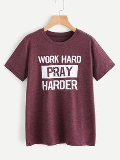 ea4647800ab4 Shop Slogan Print T-shirt online. SheIn offers Slogan Print T-shirt &