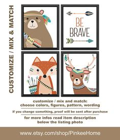 Tribal nursery Be brave, tribal woodland kids room art, tribal animals boys room decor, tribal fox bear deer, aztec nursery PRINT/CANVAS