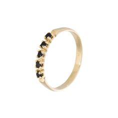 Schmaler RingGlatt polierte Oberfläche14K Gelbgold mit schwarzem OnyxHandgefertigtAlle Artikel sind handgefertigt und können daher feine Sprenkel oder Kratzer aufweisen
