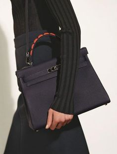 Kelly au Galop in Indigo Togo and handles in black Box, Indigo and Cuivre Chevre leather. hermes 2017 AW