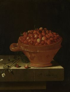 A Bowl of Strawberries on a Stone Plinth, 1696, Adriaen Coorte