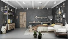 Cool Industrial Bedroom Decorating from Two Designer : Grey Bedroom Decor And White Ceiling Track Lights Above Concrete Flooring