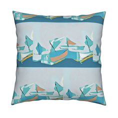 Boats At Play Square Pillow by menny | Roostery Home Decor