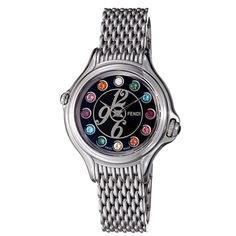 Fendi+Watches+for+Women | Fendi Women's 'Crazy Carats' Black Crystal Dial Stainless Steel Watch ...