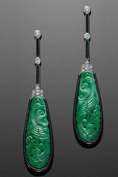 Art Deco Carved Jade, Onyx and Diamond Pendant Earrings, circa 1920s