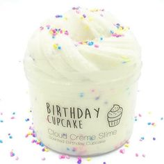 Are you looking for an unique birthday present, or just a super cute slime for yourself? Then Birthday Cupcake is the right choice for you! The combination of a super thick, holdable, sizzly cloud cre Slime Names, Slimy Slime, Food Slime, Fruit Slime, Etsy Slime, Creme Cupcake, Birthday Cupcakes, Ladybug Cupcakes, Kitty Cupcakes