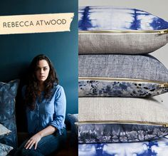 Meet my new favorite textile designer, Rebecca Atwood. Her gorgeous watery blue pillow collection is perfection #textiles #brooklyn #blue