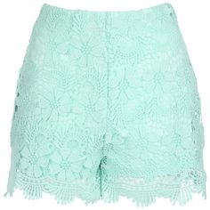 Jane Norman Crochet Shorts ($27) ❤ liked on Polyvore featuring shorts, bottoms, pants, short, green, sale, side zip shorts, green shorts, scalloped crochet shorts and scallop hem shorts