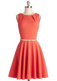 Luck Be a Lady Dress in Coral - Coral, Solid, Belted, Work, Casual, Fit & Flare, Sleeveless, Better, Scoop, Woven, Mid-length, Exposed zippe...