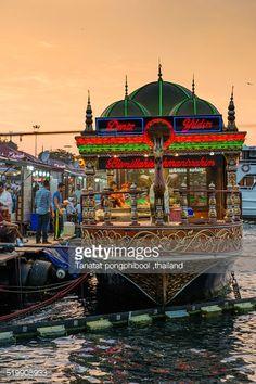 Stock Photo : Istanbul fish sandwiches Balik ekmek boat, Turkey