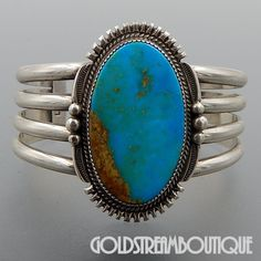 NATIVE AMERICAN LOREN BEGAY NAVAJO STERLING SILVER HUGE OVAL AMERICAN TURQUOISE CUFF BRACELET