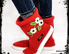 Hand crocheted boots for street- mark Uki-Crafts Handmade in Romania  Recommended season: Spring-Summer  Materials used: 65% cotton,35% acrylic Rubber light Italian sole, felt insole Lightweight and flexible rubber sole made in Italy  Care and cleaning: UKI boots are recommended to be hand wash at 30 ° C (optional- short program for automatic rinse and spin).  Sizes available : 35,36,37,38,39,40,41( European sizes) Please send us a message with your exact feet measurements ( in centimeters)…