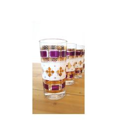 Set of 8 Vintage Culver Drinking Glasses ~ 22K Gold Highball Tumbler Barware Gold And Purple Cranberry Glassware In Moroccan Inspired Motif by LUCKYHOMEFINDS on Etsy