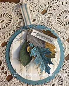 Vintage Leaves, Tag, Stampin' Up!, BJ Peters, Woodland embossing folder
