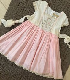 Girl's Well Dressed Wolf Pink Spring Lily Sz 5 Embroidered Easter �� Dress WDW  | eBay