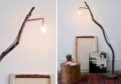 lámparo de pie con rama.