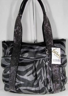 NWT Kathy Van Zeeland Handbag Bag Purse Shimmer Me Tote Black Zebra w/ Keychain