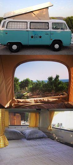 Fanny: Volkswagen T2 Vintage Campingbus #vw #vwbus #vwbulli #camper #camping #campingvan #campingcar #campanda