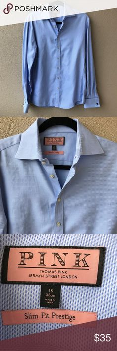 """NEW Thomas Pink Slim Fit Prestige Blue Dress Shirt New without tags prestigue slim fit blue dress shirt from Thomas ink. Woven cotton dress shirt. Embroidered throughout. Spread collar. French cuffs. Tonal top stitching and panel seaming. Button closure.   - Size 15 - Approx. 35"""" sleeve - Closet ID # 0484 Thomas Pink Shirts Dress Shirts"""