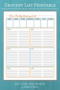 Free Grocery List Printable in 3 Color Choices | Just a Girl and Her Blog for Mom 4 Real