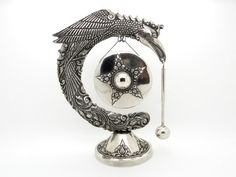 Antique Dinner Gong - Oriental Yogya 800 Silver - Griffon Dragon Bird 255 Grams - Edwardian Antiques at VintageArtAndCraft