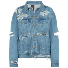 DASH Tyler Lambert Distressed Denim Jacket (€41) ❤ liked on Polyvore featuring outerwear, jackets, long sleeve jean jacket, oversized distressed denim jacket, distressed jacket, distressed denim jacket and blue jean jacket