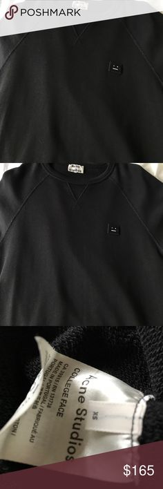 Acne Studios College Face Sweatshirt-XS Sold out! Acne Studios Awesome Sweatshirt-Sz XS but definitely fit small possibly med.I think this is sized for a man . So runs bigger for woman . Worn once no defects . So comfortable! Acne Sweaters Crew & Scoop Necks