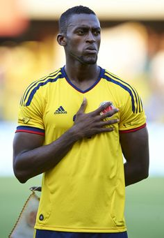 Jackson Martinez of Colombia lines up ahead of the International Friendly match between Colombia and Serbia at the Mini Estadi Stadium on August 14, 2013 in Barcelona, Spain.