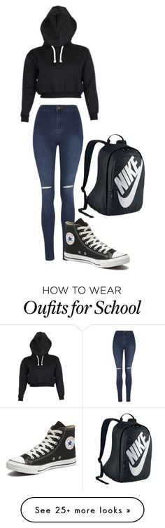 """School"" by nicoleee66 on Polyvore featuring George, Converse, NIKE, women's clothing, women, female, woman, misses and juniors"