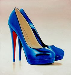 Christian Louboutin 4- Still Life Painting Of Blue Christian Louboutin Shoe -- Gerard Boersma