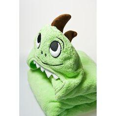 Dino Hooded Cotton Turkish Towel: Little Kid