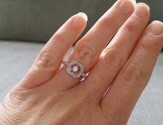 Antique Halo Morganite Diamond Blush Gemstone by PenelliBelle