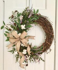 Cotton Boll Spring Wreath Farmhouse Wreath Grapevine Wreath