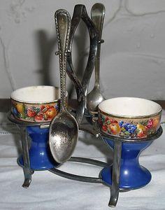 Victorian egg cup breakfast set