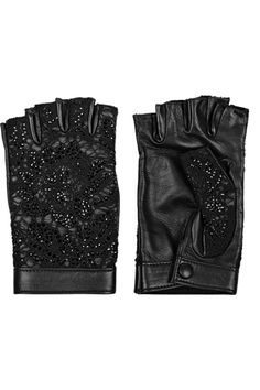 VALENTINO Embellished leather and lace fingerless gloves $925