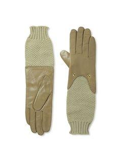 Carolina Amato Women's Knit Sleeve Leather Gloves