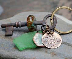 Skeleton Key Boro Glass Beaded Keychain Handstamped Tag by Venbead,