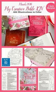 """Coming in March MY CREATIVE BIBLE KJV: 400 Coloring Illustrations & 2"""" wide margins. Same illustrators as inspire Bible. #biblejournaling"""