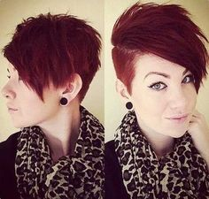 Red Pixie Side Shaved Cut Short Pixie Haircuts, Cute Hairstyles For Short Hair, Girl Haircuts, Short Hair Cuts For Women, Pixie Hairstyles, Short Hair Styles, Shaved Hairstyles, Undercut Hairstyles, Short Cuts