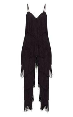 Black Tassel Plunge Jumpsuit | PrettyLittleThing